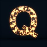 Glass glowing fire letter Q symbol
