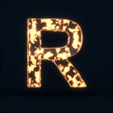 Glass glowing fire letter R symbol