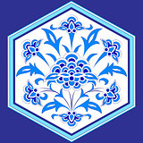 designed with shades of blue ottoman pattern series twelve