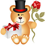 Teddy bear with gift box and red rose