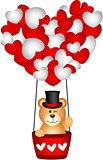 Valentine teddy bear in a heart hot air balloon