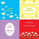 set colorful  greeting happy birthday