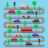 Highway with vehicles. Flat design. Vector illustration.