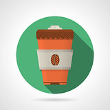 Flat color vector icon for coffee cup