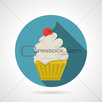Flat color vector icon for tasty cupcake