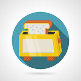 Flat color vector icon for yellow toaster