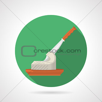 Flat color vector icon for butter and knife