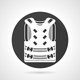 Protective vest black round vector icon