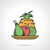 Fruit dish flat color vector icon