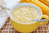 Corn porridge in yellow  bowl