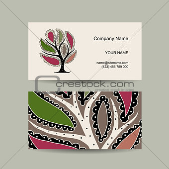 Business card template for your design. Watercolot art tree