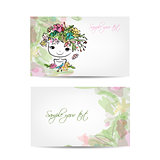 Postcard floral design with cute girl sketch