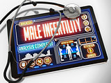Male Infertility on the Display of Medical Tablet.
