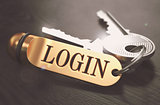 Login Concept. Keys with Golden Keyring.