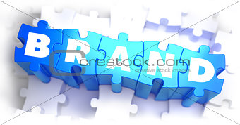 Brand - White Word on Blue Puzzles.