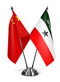 China and Somaliland - Miniature Flags.