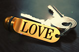 Love - Bunch of Keys with Text on Golden Keychain.