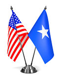 USA and Somalia - Miniature Flags.