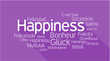 HAPPINESS in different languages, word tag cloud