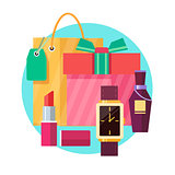 Set of gift box and bag with various gifts in flat style