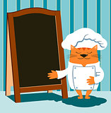 Cat chef in cartoon style shows a wooden menu board