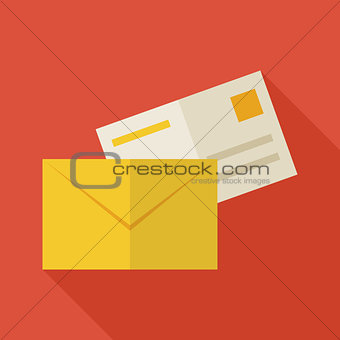 Flat Business Office Mail Envelope Illustration with long Shadow