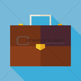 Flat Business Office Suitcase Illustration with long Shadow