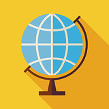 Flat Geography World Globe Illustration with long Shadow