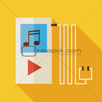 Flat Music Player Illustration with long Shadow