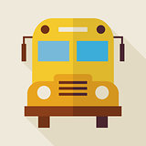 Flat School Bus Illustration with long Shadow