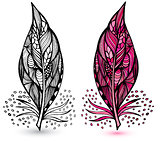 Decorative feathers. Hand drawn vector illustration