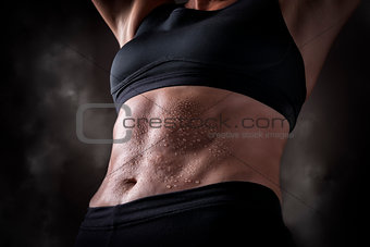Trained belly middle aged woman