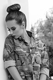 girl with military urban style BW shot