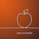 Back to school card with paper apple.