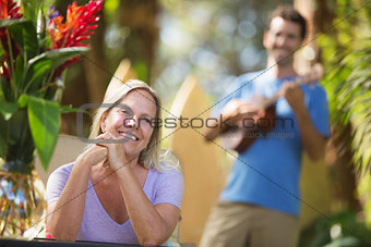 Beautiful Woman Listening to Performer