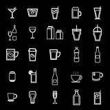 Drink line icons on black background