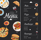 restaurant food menu design with chalkboard