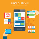 mobile app and ui element flat design