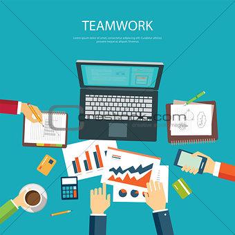 business teamwork concept flat design template