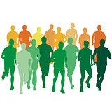 Set of silhouettes. Runners on sprint, men. vector illustration.