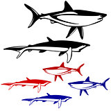 Set shark,  black and white outline. Vector illustration.