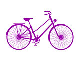 Silhouette of retro bicycle in purple design