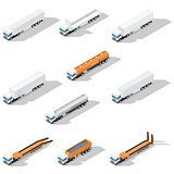 Trucks with semitrailers detailed isometric icon set, front view