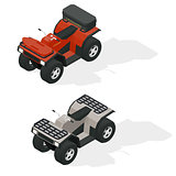 Quad bikes isometric icons set