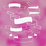 Ribbon banners on pink background