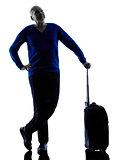 man senior travelers traveling silhouette