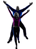 couple senior jumping happy silhouette