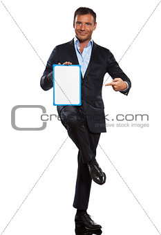 one business man holding showing whiteboard full length