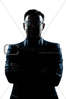business man with strange glasses silhouette