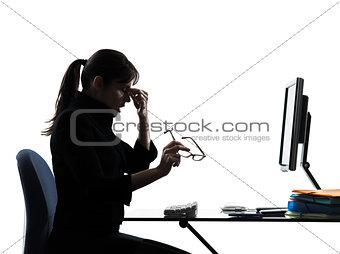 business woman headache tired  silhouette